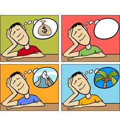 dreaming man concept cartoon vector image
