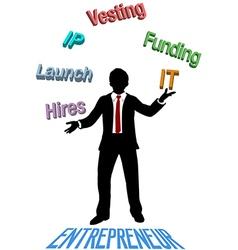 Entrepreneur juggles lean startup plan vector