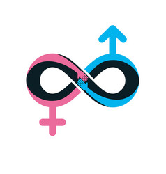 eternal couple conceptual logo symbol created vector image vector image