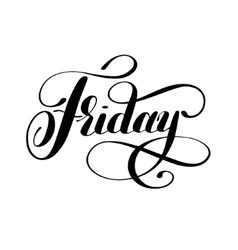 Friday day of the week handwritten black ink vector image