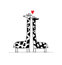 Giraffes couple in love sketch for your design vector