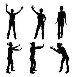 girl black silhouette in various poses vector image