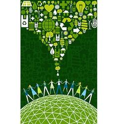 Green people eco World vector image
