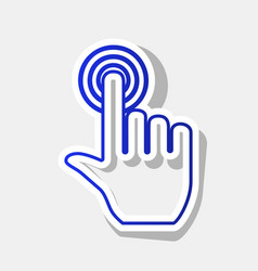Hand click on button new year bluish icon vector