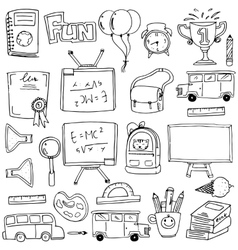 Hand draw education supplies in doodle vector