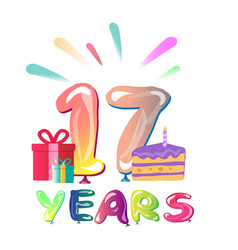 happy anniversary 17 years vector image vector image