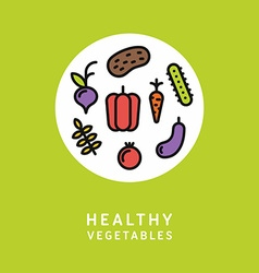 Healthy Vegetables Line Art Colorfull vector image