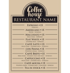 Menu for coffee house vector
