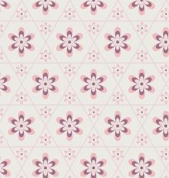Rose quartz flower in hexagon seamless pattern vector