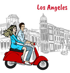 scooter driving on rodeo drive vector image