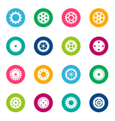 Set of gear wheels on color background vector
