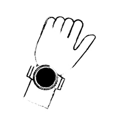 Sketch hand with smart watch timer technology vector