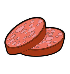 sliced sausage meat vector image