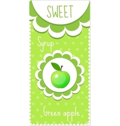 Sweet fruit labels for drinks syrup jam green vector