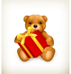 Teddy bear with gift vector image vector image