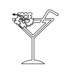 Tropical cocktail cup with hibiscus flower vector
