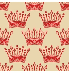 Vintage seamless background with red crown pattern vector