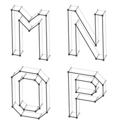 Wireframe font alphabet letters m n o p vector