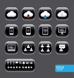 Button with cloud computer icon set vector