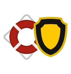 Lifebuoy and shield icon flat style vector image