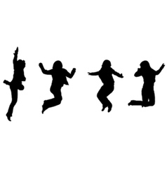 jumping silhouettes vector image