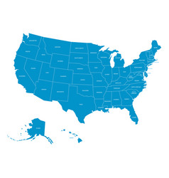map of united states of america with state names vector image
