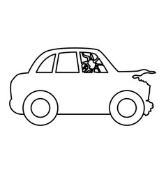 Line crash car and dangerous automobile accident vector