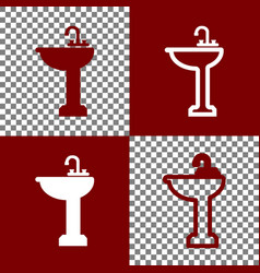Bathroom sink sign bordo and white icons vector