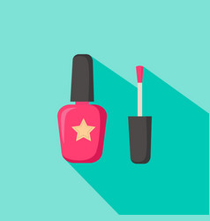 Nail polish in glass bottle open lid and closed vector