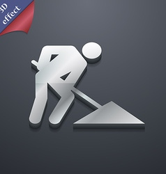 Repair of road construction work icon symbol 3d vector