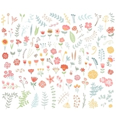 Floral hand drawn vintage set vector