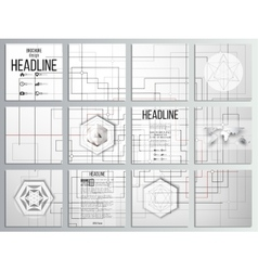 Set of 12 creative cards square brochure template vector