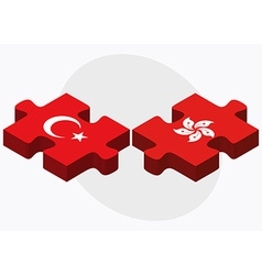 Turkey and hong kong sar china flags vector
