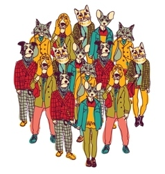 Standing group people with cats and dogs heads vector