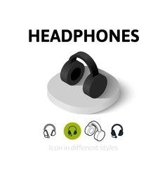 Headphones icon in different style vector