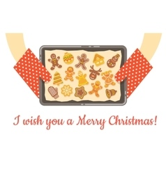 Christmas gingerbread cookies just baked on tray vector