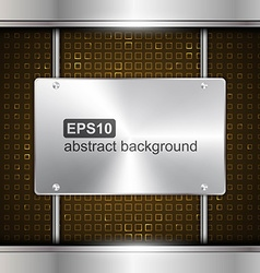 Technology background with metallic chrome banner vector