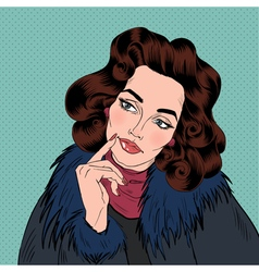 Beautiful woman in pop art comics style dreaming vector