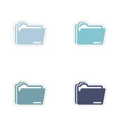 Set of paper stickers on white background folders vector