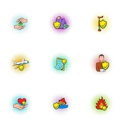 Accident icons set pop-art style vector image