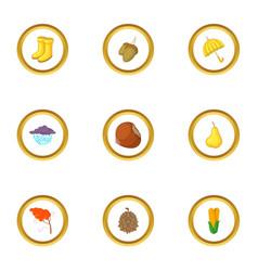 autumn harvest icons set cartoon style vector image vector image