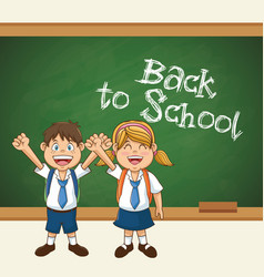 back to school cute students uniform cheerful vector image vector image