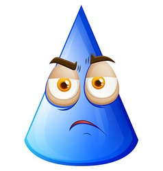 Blue cone with sad face vector