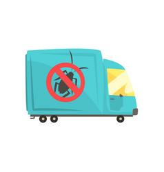 Blue exterminator truck pest control service vector