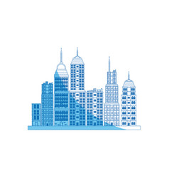building towers high town image blue line vector image vector image