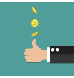 Businessman hand throwing up a coin vector