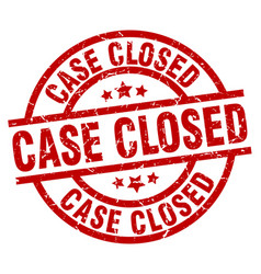 Case closed round red grunge stamp vector