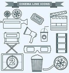 Cinema black and white icon set vector