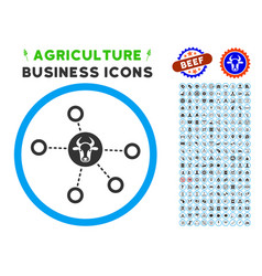 cow relations rounded icon with set vector image vector image