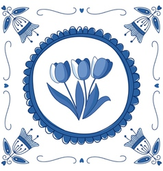 Delft blue tulips vector